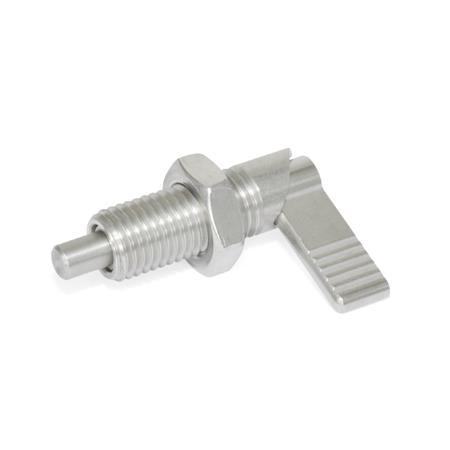 GN 721.6 Stainless Steel Cam action indexing plungers, with locking function Type: LAK - Left-hand lock, with lock nut