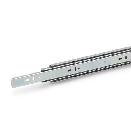 GN 1412 Steel Telescopic Slides, with Full Extension and Self-Retracting Mechanism, Load Capacity up to 96 lbf
