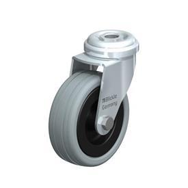 LRA-VPA Rodajas giratorias de acero con ruedas de caucho gris, montaje con agujero para perno, serie de soportes estándar Type: G - Cojinete liso