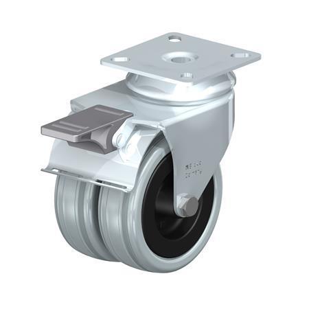 LDA-VPA Rodajas giratorias de acero zincado con ruedas gemelas de caucho gris de servicio medio con placa de montaje Type: G-FI - Cojinete liso con freno «stop-fix»