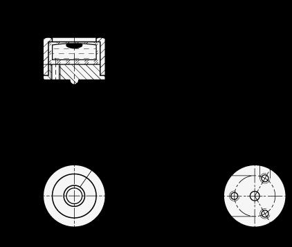 GN 2280 Niveles de ojo de buey de aluminio, con roscas de montaje boceto