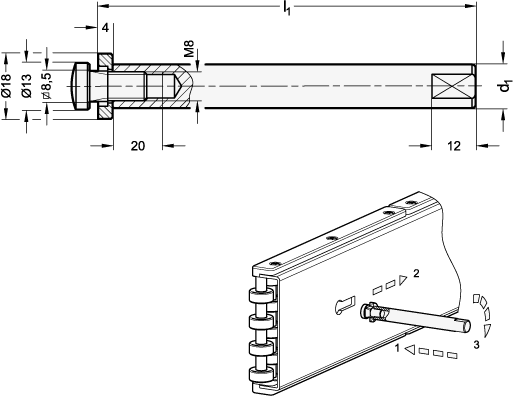 AN 813 Roller Guide Adjusting Rods sketch
