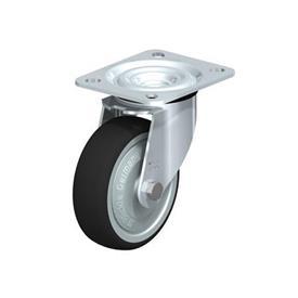 L-PATH Rodajas giratorias con estampado de acero zincado con rueda de caucho gris de servicio medio, con placa de montaje  Type: K-FK