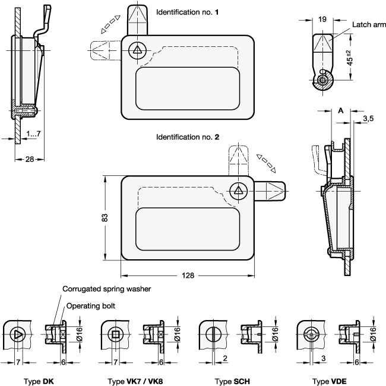 GN 115.10 Pestillos de zinc fundido a presión con bandeja de sujeción, operación con llave, no bloqueables boceto