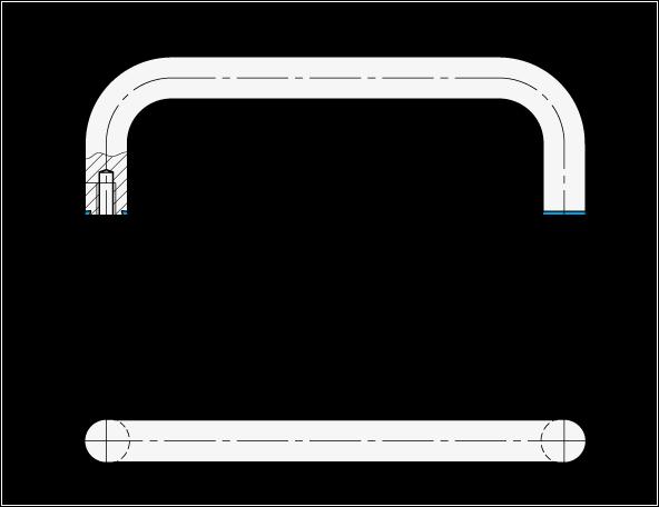GN 429 Jaladeras en «U» para gabinete de acero inoxidable, con agujeros roscados, diseño higiénico  boceto