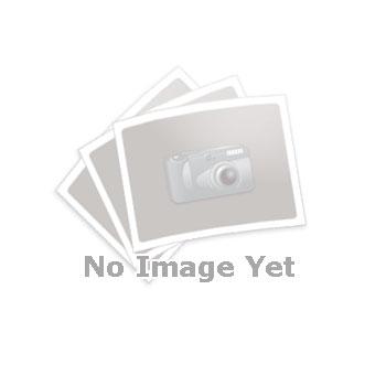 GN 722.2 Pestillos de muelle cuadrados, de acero, con brida para montaje en superficies Tipo: B - Posición del pestillo en paralelo con los agujeros de fijación Acabado: SW - Negro, acabado texturizado