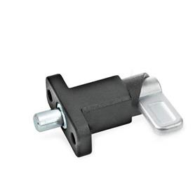 GN 722.2 Steel Square Spring Latches, with flange for surface mounting Type: B - Latch position parallel to fixing holes<br />Finish: SW - Black, textured finish