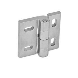 GN 235 Bisagras de acero inoxidable, ajustables Material: NI - Acero inoxidable<br />Tipo: HB - ajustable vertical y/u horizontalmente<br />Acabado: GS - Granallado mate
