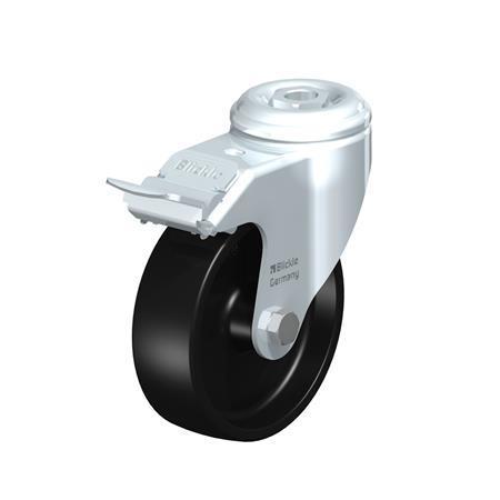 LKRA-POA Steel, Black Nylon Wheel Swivel Casters with Bolt Hole Mounting, Heavy Duty Bracket Series Type: G-FI - Plain Bearing with Stop-Fix Brake
