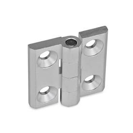 GN 237 Zinc Die-Cast or Aluminum Hinges, Countersunk Thru Holes or Threaded Stud Type Material: AL - Aluminum<br />Type: A - 2x2 bores for countersunk screws<br />Finish: EL - Anodized finish, natural color