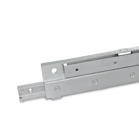 GN 2406 Metric Size, Steel Telescopic Linear Slides, S-Shaped, with One Side Extension