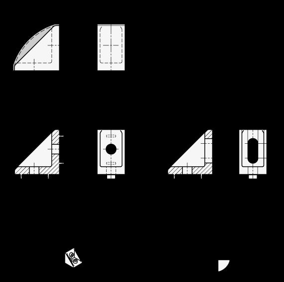 EN 561 Escuadras de montaje, plástico tecnopolímero, medidas métricas, tipo B y C boceto