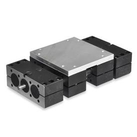 GN 492 Steel,  Double Tube Linear Actuators, With Right Hand Thread, Double Slider