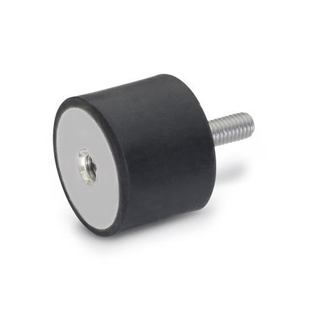 GN 451 Vibration Isolation Mounts, Cylindrical Type, with Stainless Steel Components