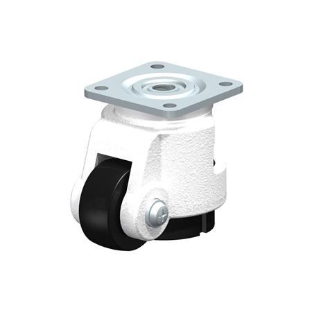 HRSP-POA Steel Heavy Duty Leveling Casters, with integrated truck lock and top plate fitting Type: G - Plain Bearing