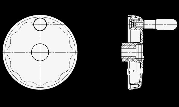EN 521 Volantes de disco sólidos, plástico tecnopolímero, con o sin empuñadura giratoria boceto
