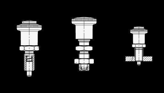 GN 414 Posicionadores de indexado de seguridad de acero, desbloqueo con botón pulsador boceto