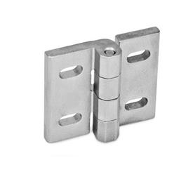 GN 235 Stainless Steel Hinges, Adjustable Material: NI - Stainless steel<br />Type: B - Horizontal slots<br />Finish: GS - Matte, shot-blasted finish