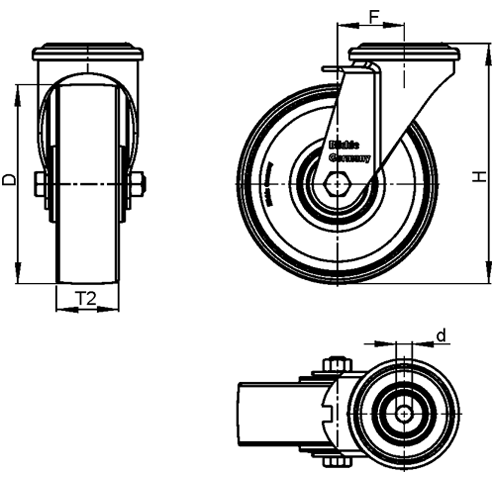 LRA-VSTH Steel Light Duty Extrathane® Treaded Swivel Casters, with bolt hole fitting sketch