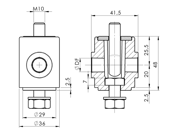 AN 5670 Clamping Heads With Threaded Eye Bolt Top Side sketch