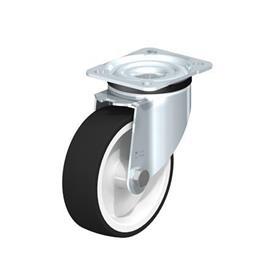 LK-POTH Rodajas giratorias de acero con rueda con banda de poliuretano de servicio medio, con placa de montaje, serie de soportes de servicio medio-pesado Type: G - Cojinete liso