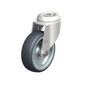 LKRXA-TPA Rodajas giratorias de acero inoxidable de servicio ligero, con ruedas de caucho termoplástico y ajuste con agujero para perno, serie de soportes pesados  Type: G - Cojinete liso