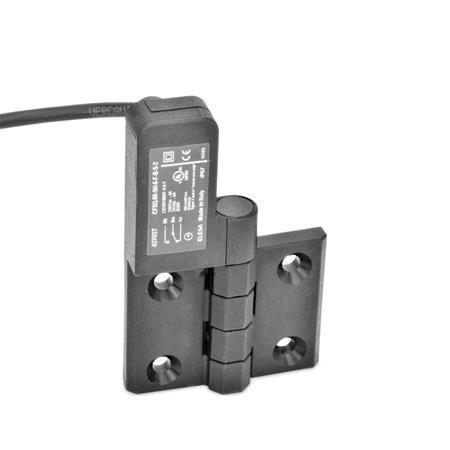 EN 239.4 Bisagras de plástico con interruptor integrado, con cable conector Identificación: SL - Orificios para tornillo avellanado, interruptor a la izquierda Tipo: CK - Cable por la parte posterior