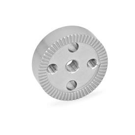 GN 187.4 Stainless Steel Serrated Locking Plates Type: C - with tapped hole in the center, with two tapped mounting holes