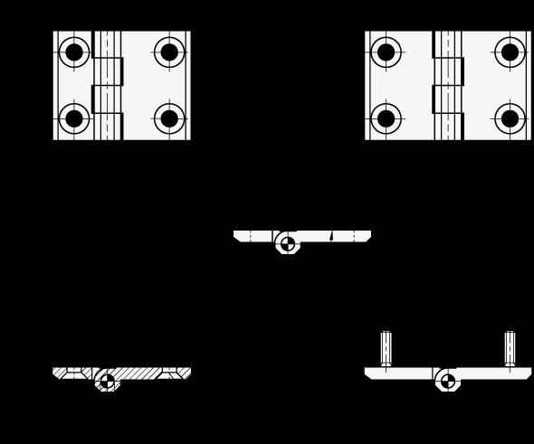 GN 237 Bisagras de zinc fundido a presión con ala de bisagra extendida boceto