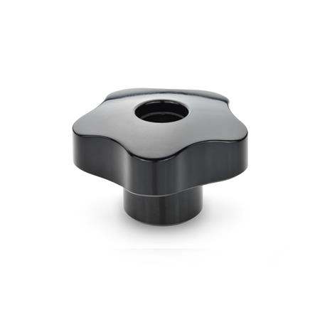EN 5337 Phenolic Plastic Solid Five Lobed Knobs, with Threaded Blind Bore or Threaded Through Bore Type: D - With tapped through bore