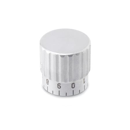 GN 436.1 Metric Size, Stainless Steel,  Knurled Control Knobs, With Extended Hub for Graduation Scale  Type: S - with standard scale 0...9, 20 graduations