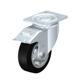 LH-ALEV Rodajas giratorias de acero con rueda de caucho negro de servicio pesado, con placa de montaje, serie de soportes de servicio medio Type: K-FI - Cojinete de bolas con freno «stop-fix»