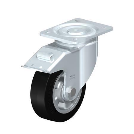 LH-ALEV Steel Heavy Duty Black Rubber Wheel Swivel Casters, with Plate Mounting, Heavy Duty Bracket Series Type: K-FI - Ball Bearing with Stop-Fix Brake