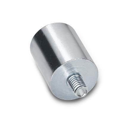 GN 52.4 Steel Retaining Magnets, rod-shaped, with threaded stud