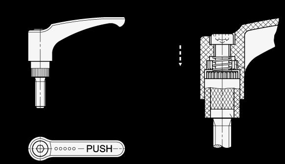 EN 604.2 Manijas ajustables de seguridad Ergostyle® de plástico tecnopolímero, tipo espárrago roscado, con componentes de acero boceto