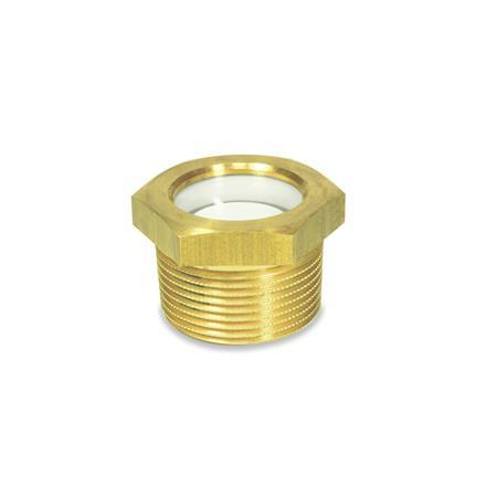 GN 743.7 Brass Fluid Level Sight Glasses, with Natural Float Glass, BSPT or NPT Threads