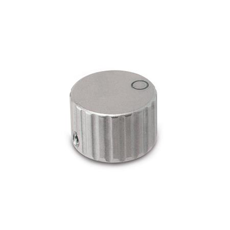 GN 436 Perillas de control moleteadas, de acero inoxidable Tipo: M - con punto indicador