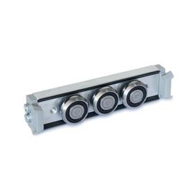 GN 2424 Metric Size, Aluminum or Steel, Cam Roller Carriages, For GN 2422 Cam Roller Guide Rails Type: N - Normal roller carriage, central arrangement<br />Version: X - with wiper for fixed bearing rail (X-rail)
