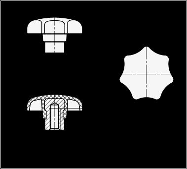 GN 6336.2 Perillas de estrella de tecnopolímero, con núcleo de acero saliente boceto