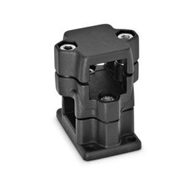 GN 141 Aluminum, Multi-Part Assembly, Flanged Two-Way Connector Clamps, Round or Square Bore Type   Finish: SW - Black, RAL 9005, textured finish
