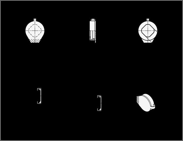 GN 120 Tapones protectores de plástico, para cerrojos para puertas boceto