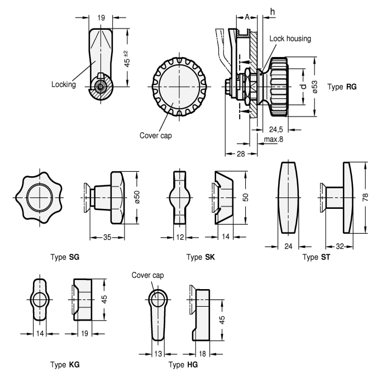 GN 115 Mecanismos de bloqueo para puerta de zinc fundido a presión, con alojamiento de la cerradura cromado, no bloqueable boceto