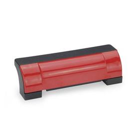"EN 630 Technopolymer Plastic Ergostyle® Off-Set Enclosed Safety ""U"" Handles Color of the cover: DRT - Red, RAL 3000"