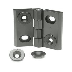 GN 127 Zinc Die-Cast Adjustable Alignment Hinges, With Alignment Bushings