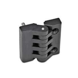 EN 151 Plastic Hinges, Miscellaneous Mounting Types Type: F - 2x threaded studs / 2x bores for countersunk screws