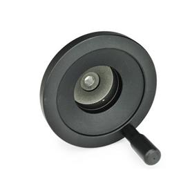 GN 323.9 Aluminum Solid Disc Handwheels, for EN 000.9 / EN 000.13 Position Indicators, with or without Revolving Handle Type: R - With revolving handle