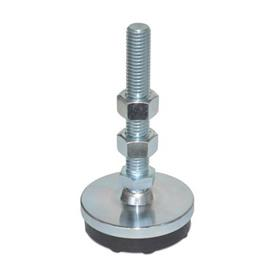 LP 100 Zinc Plated Steel Low Profile Leveling Mounts, Threaded Stud Type
