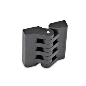 EN 151 Plastic Hinges, Miscellaneous Mounting Types Type: A - 2x2 threaded blind bores