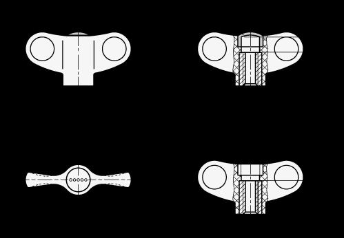 EN 634 Tuercas de mariposa Ergostyle® de plástico tecnopolímero, con inserto roscado de latón  boceto