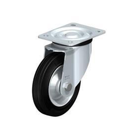 L-RD Rodajas de acero estampado pesado, con ruedas de caucho negro de servicio medio, con placa de montaje Type: R